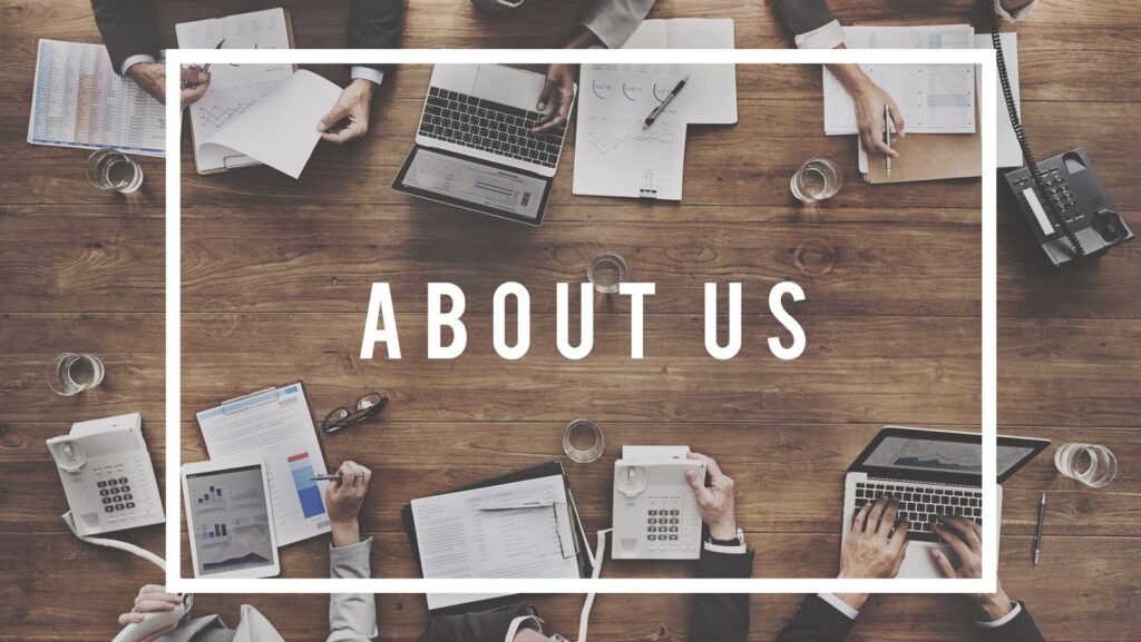 An image depicting the concept of 'about us'. Our main objective is to advise and helping small companies build a competitive advantage.
